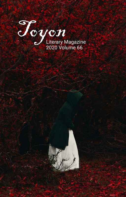 Image of Toyon Volume 66 Cover Art featuring hooded lady in red forest